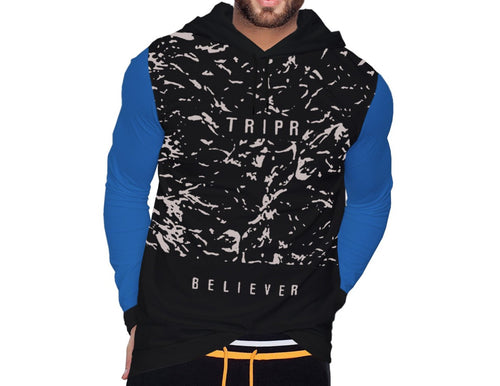 Tripr Printed Men Hooded Neck Black, Light Blue T-Shirt
