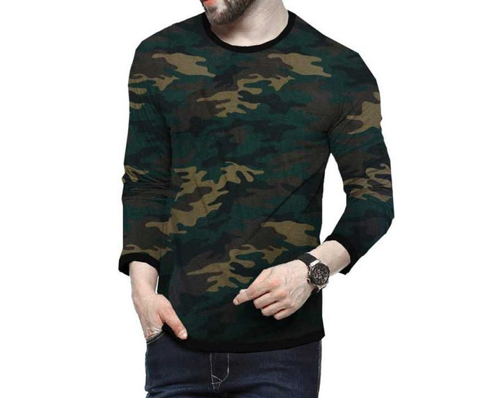 Tripr Military Camouflage Men Round Neck Multicolor T-Shirt
