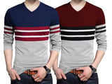Tripr Color Block Men V Neck Dark Blue, Maroon T-Shirt (Pack of 2)
