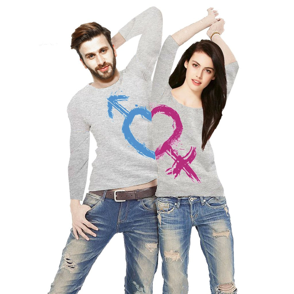 Tripr Printed Men and Women Couple Grey T-Shirt PACK of 2
