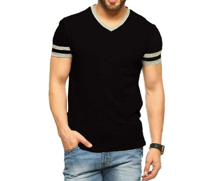 Tripr Men's V-Neck Tshirt Black Strip