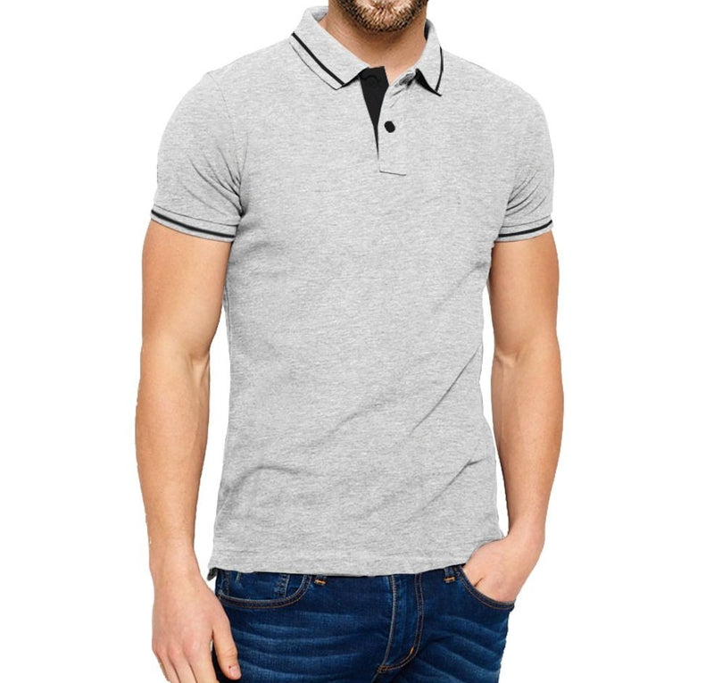 Tripr Solid Men Polo Neck Grey T-Shirt