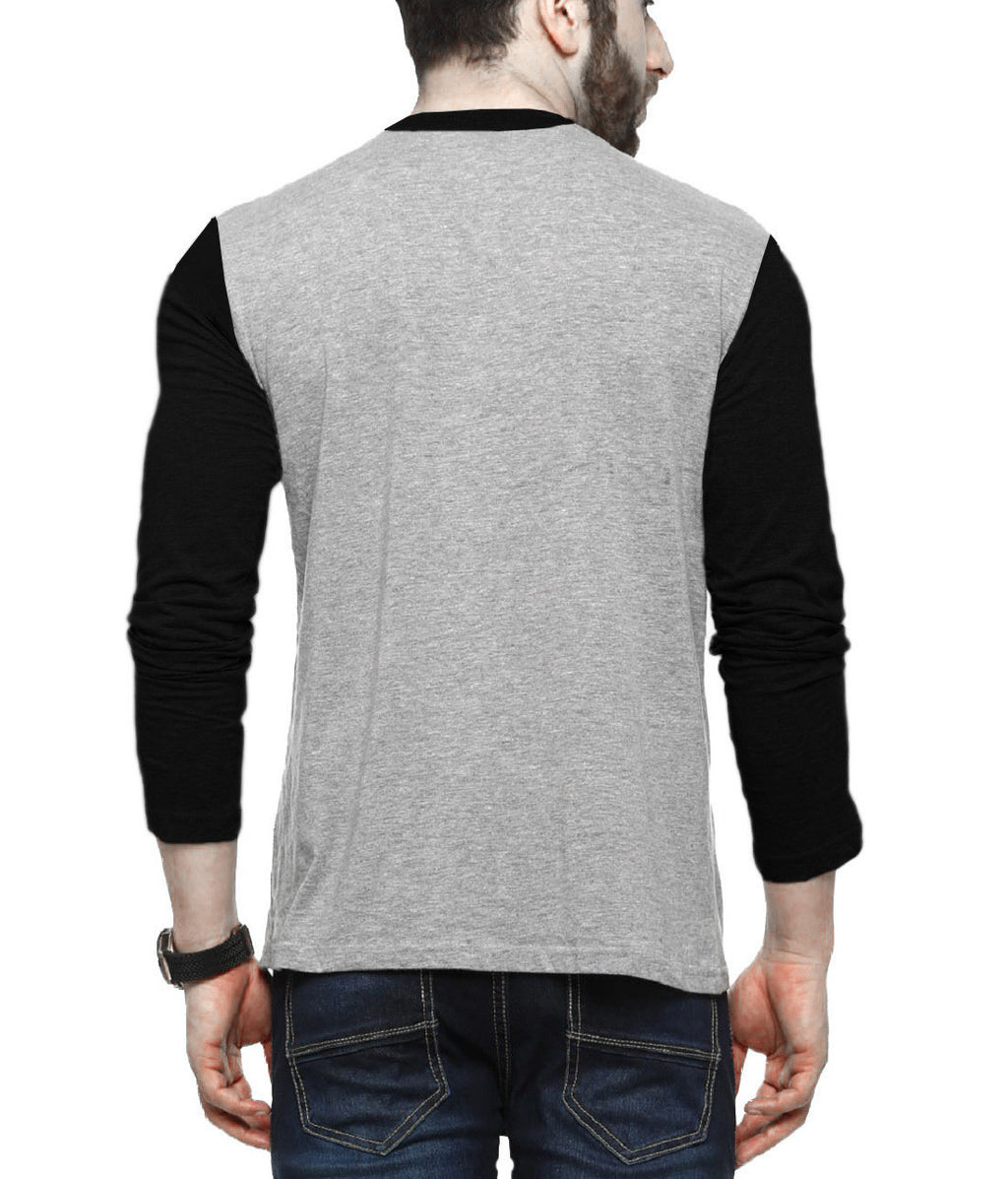Tripr Men's V-Neck Tshirt Full Sleeves Grey Black