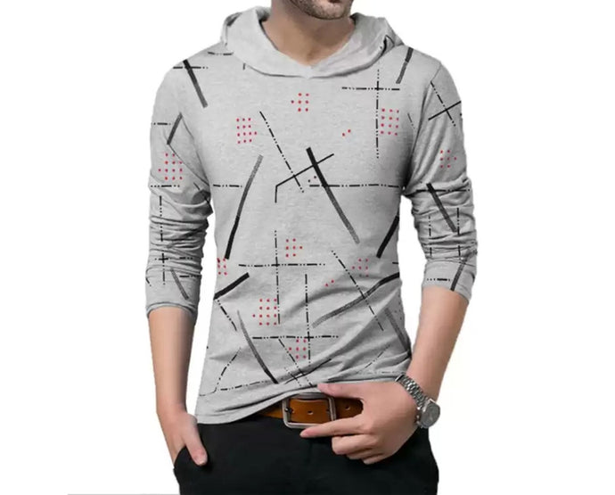 Abstract Men Hooded Neck Grey T-Shirt