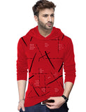 Tripr Printed Men Hooded Neck Red T-Shirt