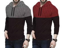 Tripr Checkered Men Hooded Neck Red, Black, Grey T-Shirt  (Pack of 2)