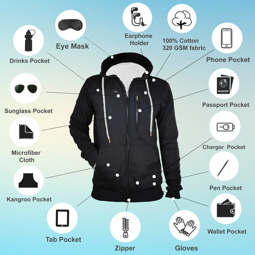 Tripr Full Sleeve Men Travel Hoodie Jacket  (Black Grey)