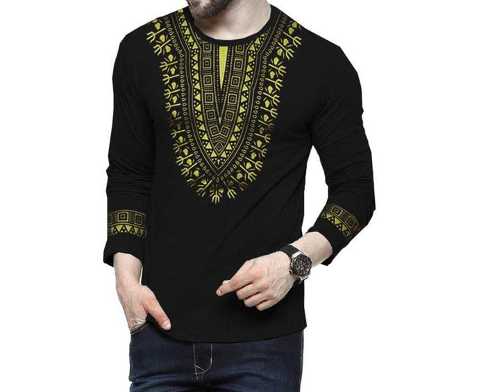 Tripr Men's Printed Round Neck Full Sleeves T- Shirt