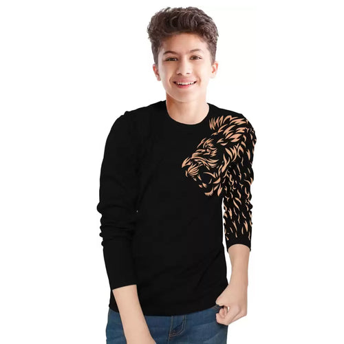 Tripr Kids Printed Pure Cotton T Shirt Black