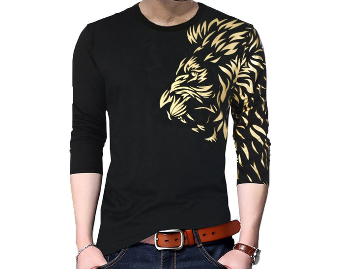 Graphic Print Men's Round Neck Black T-Shirt