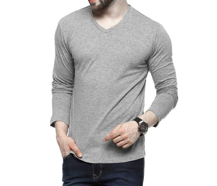 Tripr Men's V-Neck Full Sleeves Tshirt Grey Melange