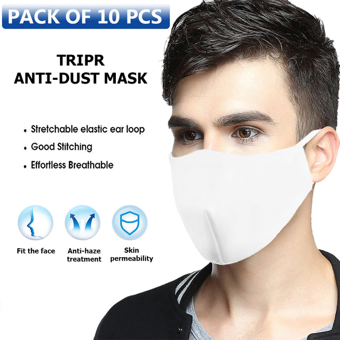 TRIPR REUSABLE COTTON WITH FOAM FACE MASK (PACK OF 10 PIECES) White