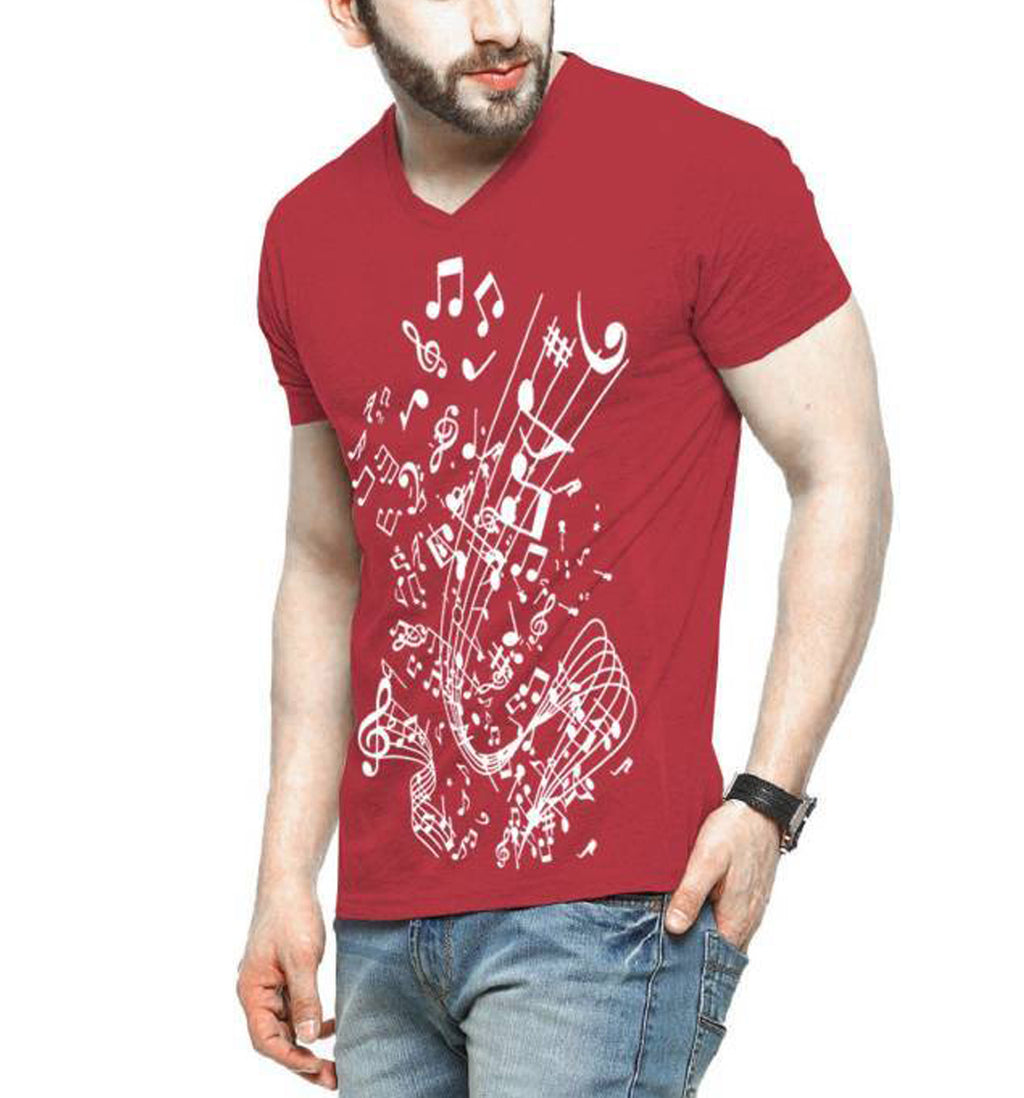 Tripr Printed Men V-neck Multicolor T-Shirt