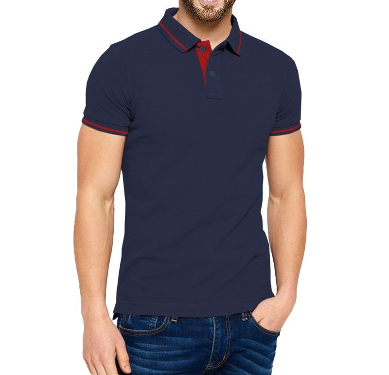Tripr Solid Men Polo Neck Navy T-Shirt