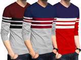 Tripr Color Block Men V Neck Multicolor T-Shirt  (Pack of 3)