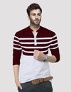 Tripr Striped Men Mandarin Collar Maroon, White T-Shirt