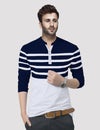 Tripr Striped Men Mandarin Collar Dark Blue, White T-Shirt