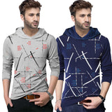 Tripr Printed Men Hooded Neck Grey,Dark Blue T-Shirt  (Pack of 2)