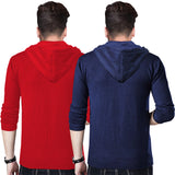 Tripr Printed Men Hooded Neck Dark Blue, Red T-Shirt  (Pack of 2)