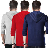 Tripr Printed Men Hooded Neck Multicolor T-Shirt  (Pack of 3)