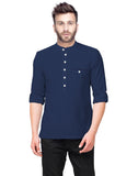 Tripr  Men Textured Pure Cotton Straight Kurta  (Dark Blue)