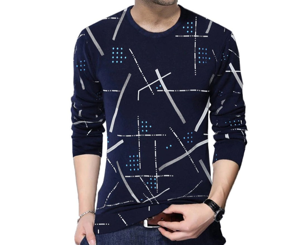 Printed Men Round Neck Dark Blue T-Shirt