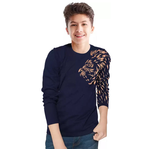 Tripr Kids Printed Pure Cotton T Shirt DarkBlue