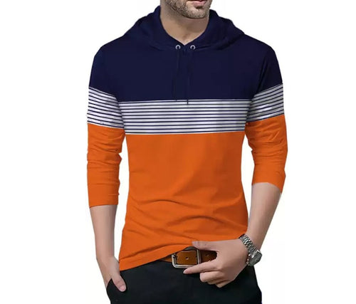 Tripr Striped Men Hooded Neck Dark Blue, Orange T-Shirt