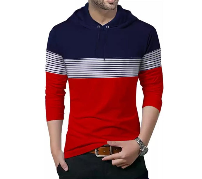 Tripr Striped Men Hooded Neck Dark Blue, Red T-Shirt