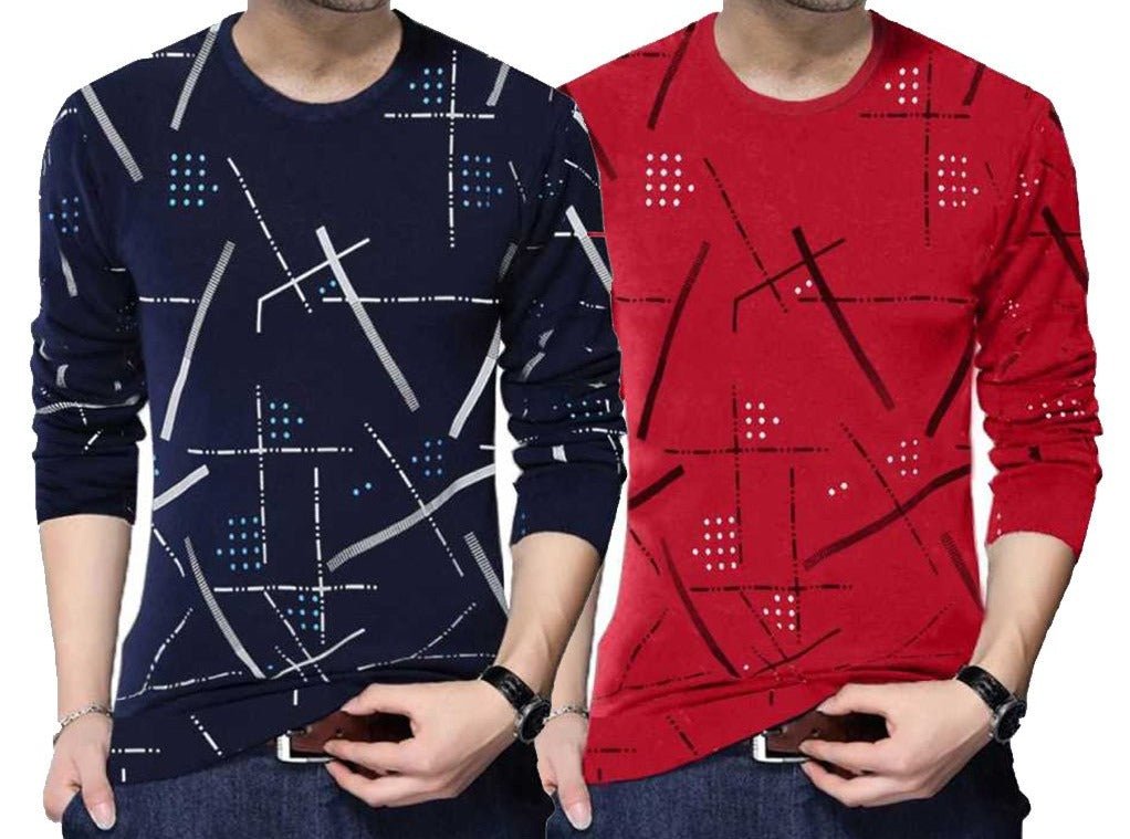 Tripr Printed Men Round Neck T-Shirt (Pack of 2)