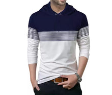 Tripr Striped Men Hooded Neck Dark Blue, White T-Shirt