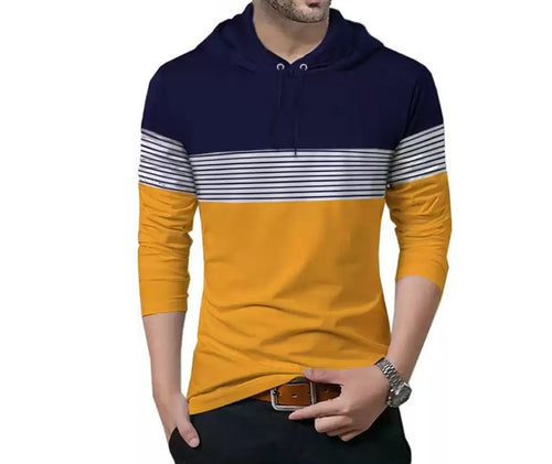 Tripr Striped Men Hooded Neck Dark Blue, Yellow T-Shirt