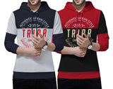 Tripr Typography Men Hooded Neck Multicolor T-Shirt (Pack of 2)