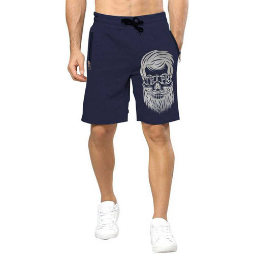 Tripr Printed Men Dark Blue Regular Shorts with zipper