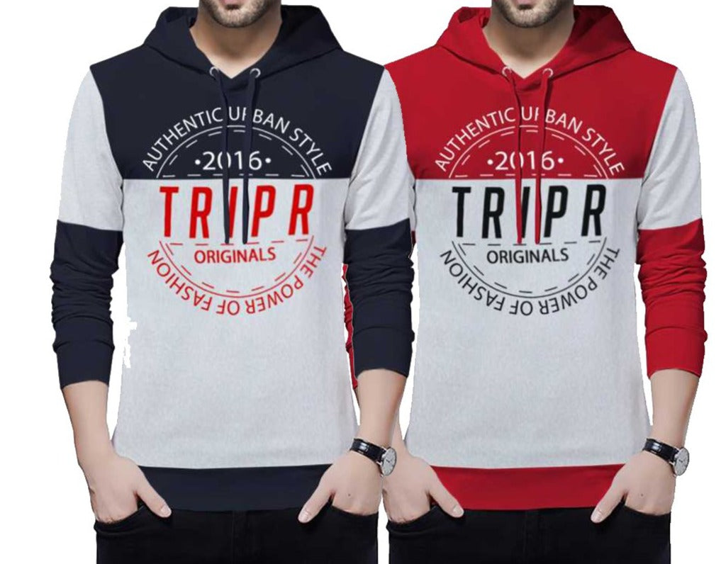 Typography Men Hooded Neck Multicolor T-Shirt (Pack of 2)