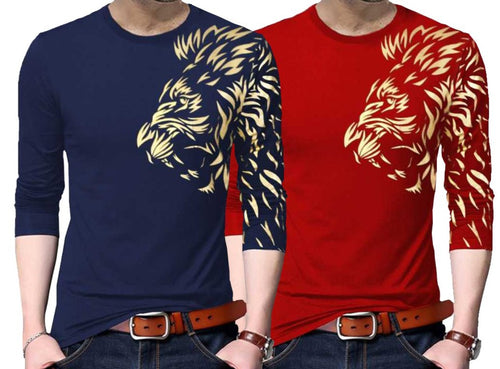 Tripr Graphic Print Men Round Neck Dark Blue Red T-Shirt (Pack of 2)