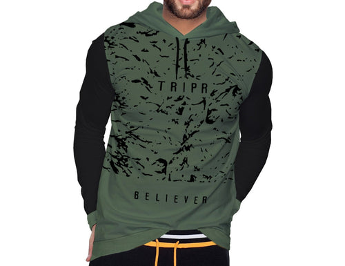 Tripr Printed Men Hooded Neck Dark Green, Black T-Shirt