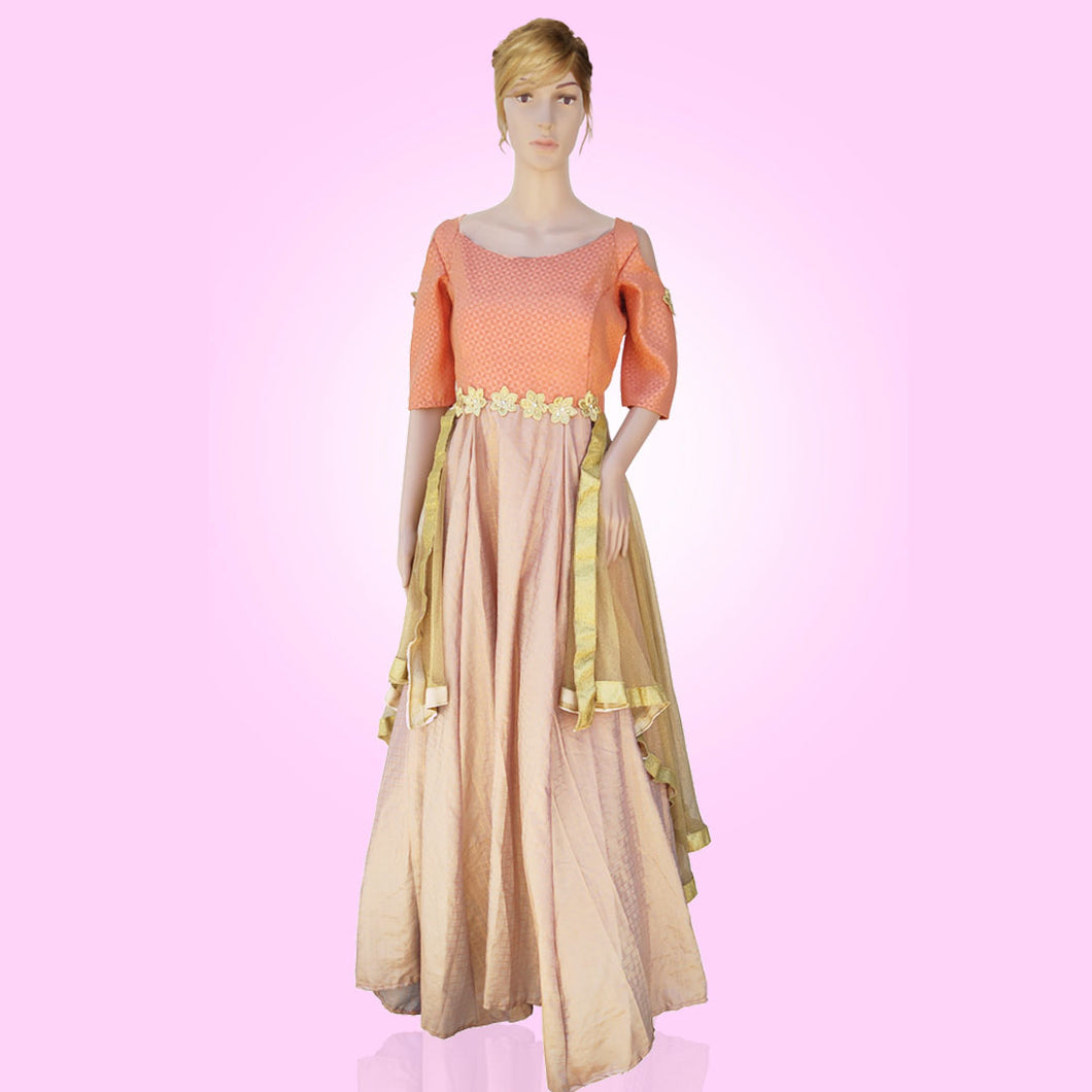 Tripr Women gorgeous multilayered peach Lehenga gown
