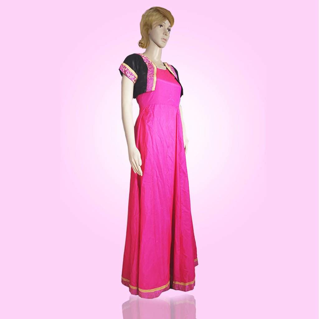 Tripr Women pink Gown With black coat