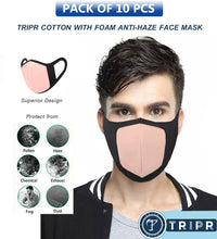 TRIPR REUSABLE COTTON WITH FOAM FACE MASK (PACK OF 10 PIECES) BLACK PINK
