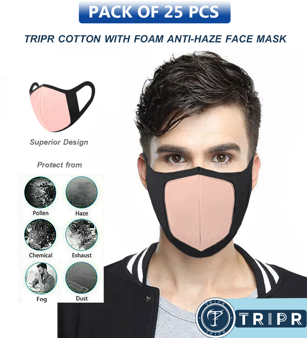 TRIPR REUSABLE COTTON WITH FOAM FACE MASK (PACK OF 25 PIECES) BLACK PINK