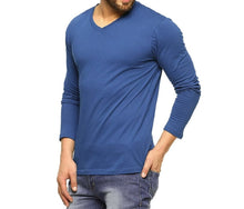Tripr Men's V-Neck Full Sleeves Tshirt Royalblue