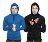 Tripr  Solid Men Hooded Neck Light Blue, Black, Grey T-Shirt  (Pack of 2)