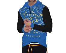 Tripr Printed Men Hooded Neck Light Blue, Black T-Shirt