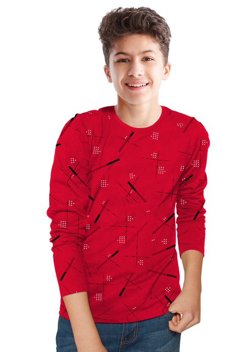Tripr Boys Printed Pure Cotton T Shirt Red