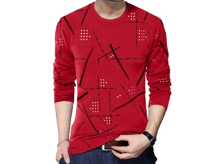 Printed Men Round Neck Red T-Shirt