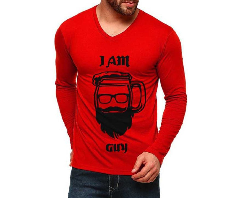 Tripr Graphic Print, Typography Men V-neck Red T-Shirt