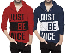 Tripr Printed Men Hooded Neck Red Navy T-Shirt (Pack of 2)