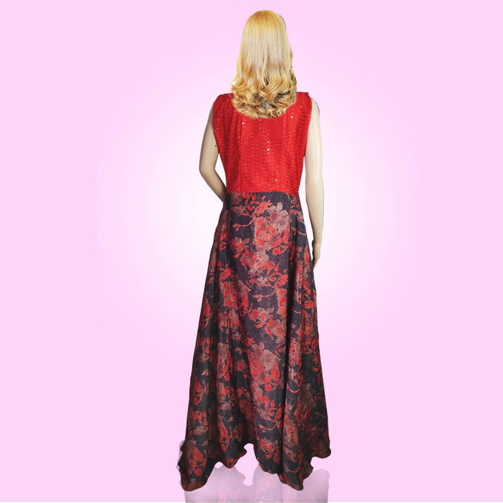 Tripr Women Printed red sleeveless Gown