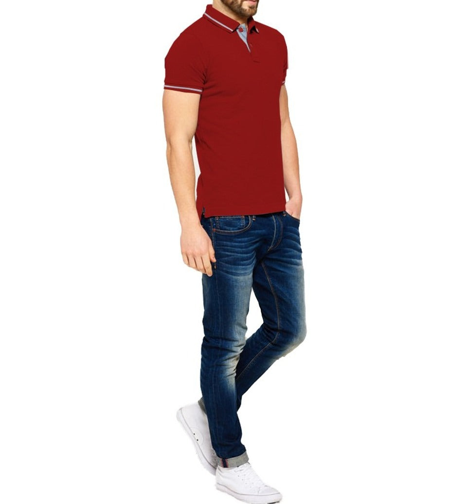 Tripr Solid Men Polo Neck Red T-Shirt